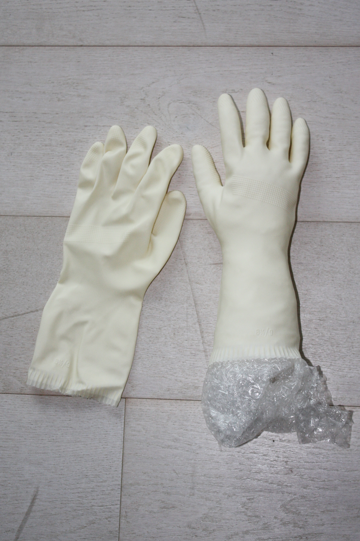 Latex gloves stuffed with bubble wrap