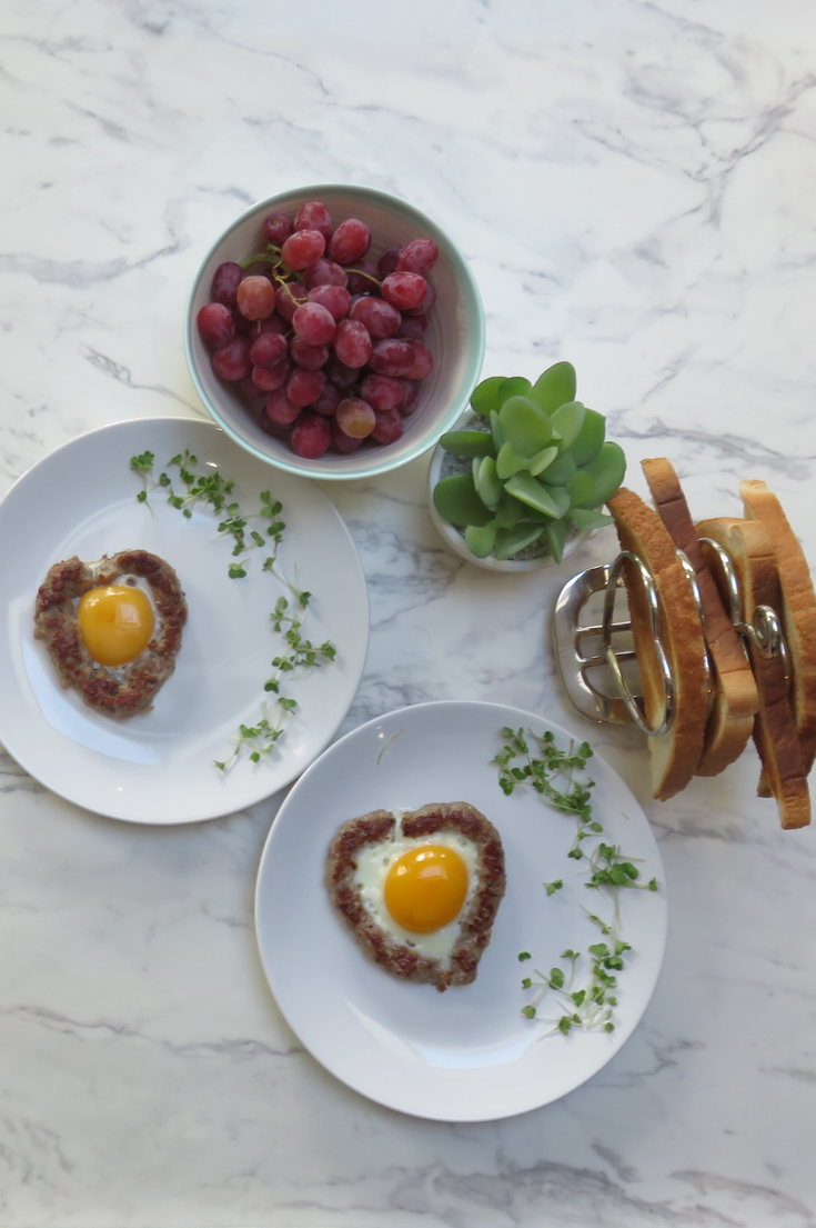 Sausage and Egg Hearts Valentine Food Idea