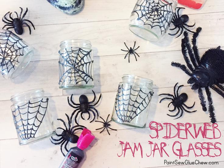 Halloween Spiderweb jam jar glasses