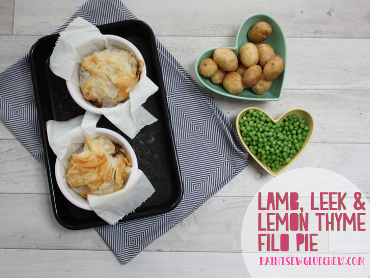 Lamb leek and filo pie
