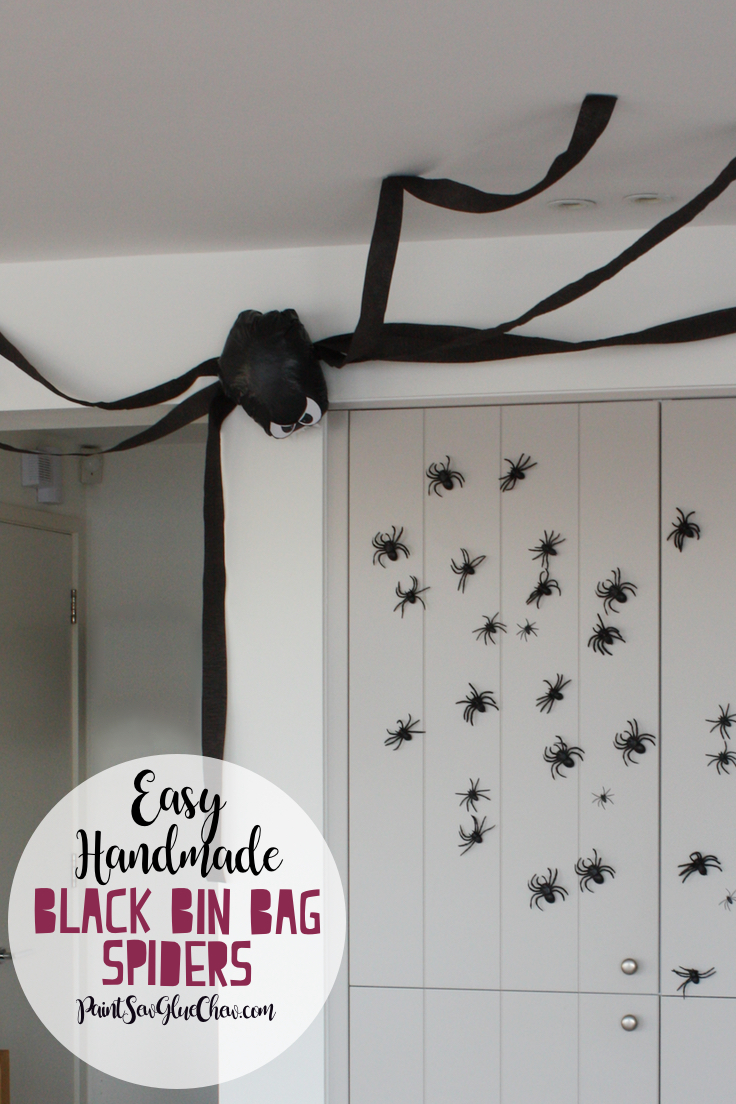 Spider Halloween Decorations made with bin bags