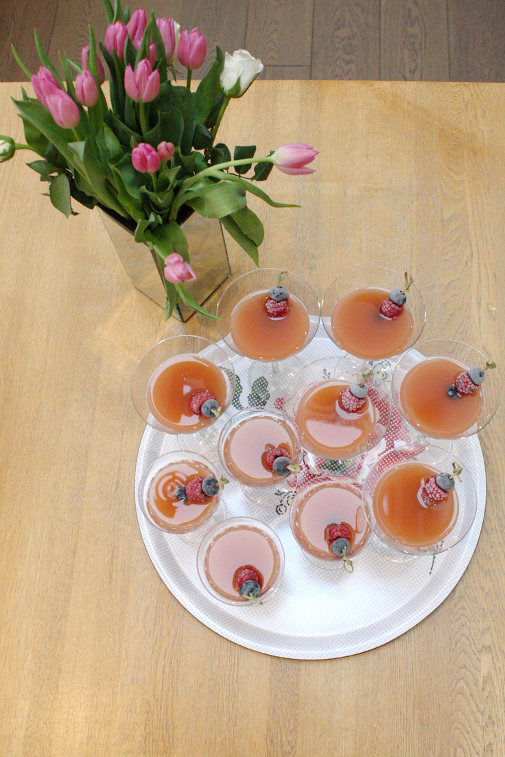 Afternoon tea cocktails on a tray