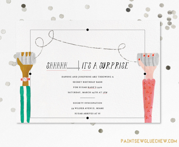 Surprise party invite from paperless post
