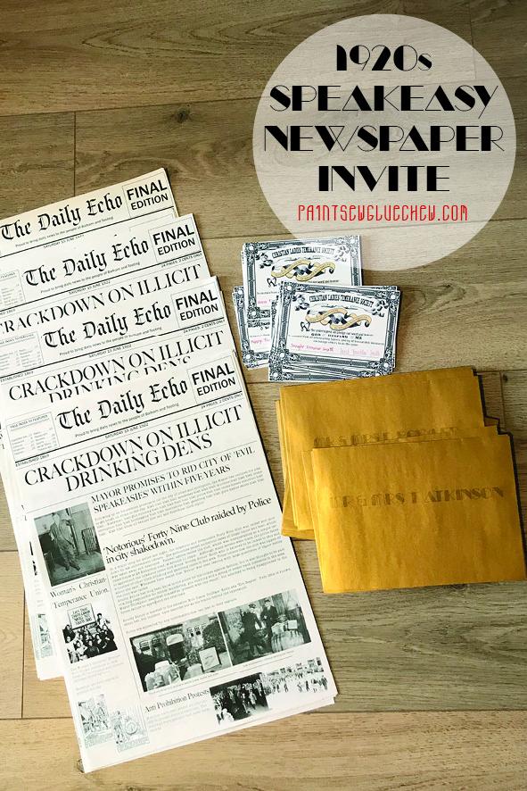 1920 speakeasy newspaper invite with gold envelopes