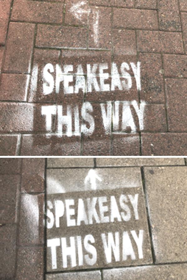 Speakeasy chalk template on pavement