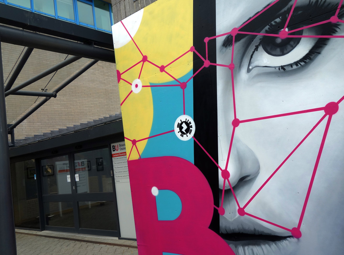 BOURNEMOUTH UNIVERSITY FUSION BUILDING EXTERIOR STREET ART GRAFFIITI MURAL & DESIGN PAINTSHOP STUDIO