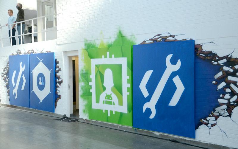 Facebook graffiti mural & graphics for Truman brewery mobile developers event Paintshop studio
