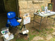 My set up at the Nature Center during the noon hour. I encourage everyone who stops by to make some art and try out my watercolor brushes and field paintboxes.