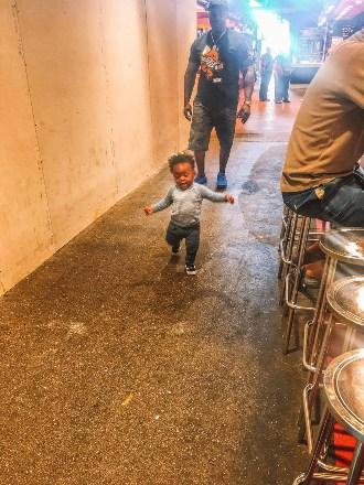 La Boquria with a toddler