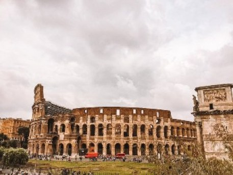 The front of the Colosseum in Rome.