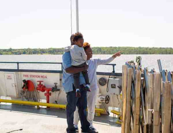 Family with their toddler on Surry,VA ferry.