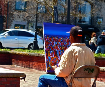 A local artist on the riverfront