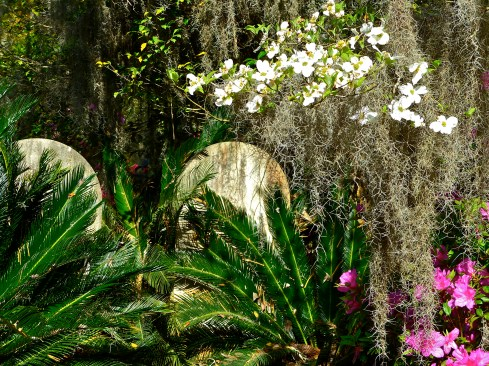 Headstones nestled among lush vegetation