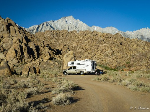 Our sweet campsite overlooking Mt. Whitney and the White Mtns.