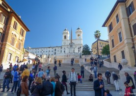 Spanish Steps, with a church and private school at the top