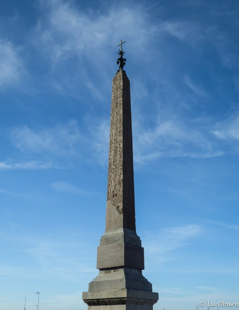 Obelisk at the top of the Spanish Steps