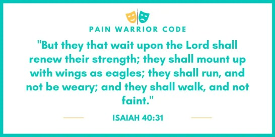 """Graphic that reads;""""But that they wait upon the Lord shall renew their strength; they shall mount up with wings as eagles; they shall run, and not be weary; and they shall walk, and not faint."""", Isaiah 40:31"""