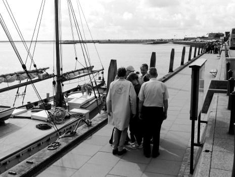 choreographically experiments by choreographer Peter Vadim, outside the ship Rebekka at Nordby, photo credit: Eduardo Abrantes