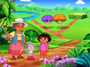 Dora The Explorer, Season 2, Episode 7. Here we see Boots and Dora and Mrs. Camus, Dora's Existentialist neighbor, explaining to Dora that her choice between the two paths is meaningless. I freaking love Nickleodeon.