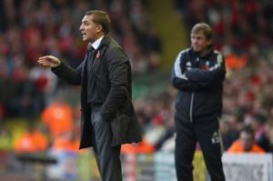 Brendan+Rodgers+with+Kenny+Dalglish+in+the+background