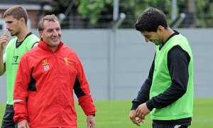 Liverpool's manager Brendan Rodgers with Luis Suárez