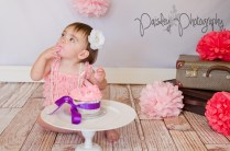 Vintage Pink Lace and Pearl Cake Smash Photography