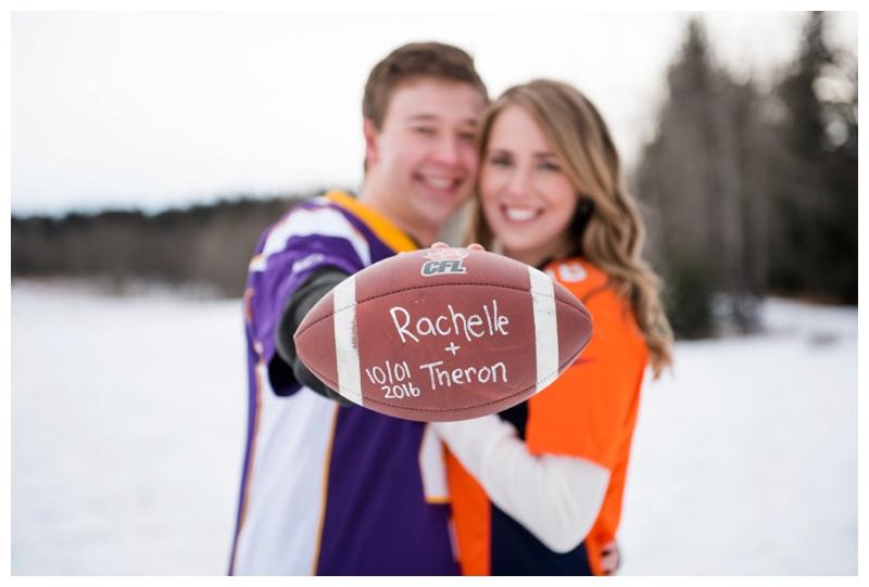 Football Themed Engagement Photos Calgary