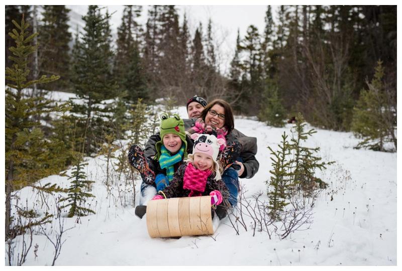 Tobogganing Family Photos Canmore