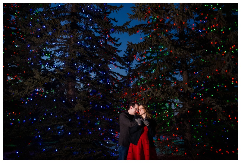 Spruce Meadow Christmas Light Engagement Photos