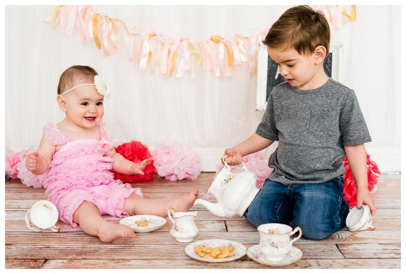 Pink Tea Party First Birthday Cake Smash