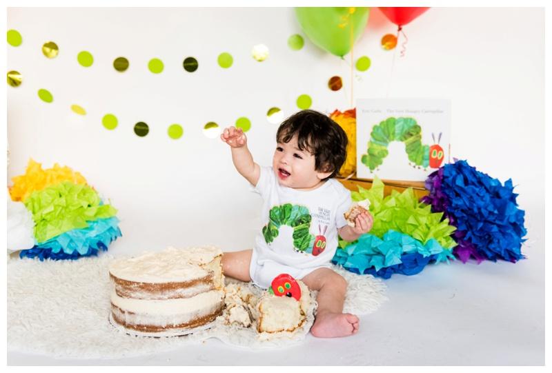 The Very Hungry Caterpillar 1st Birthday - Calgary Cake Smash Photos