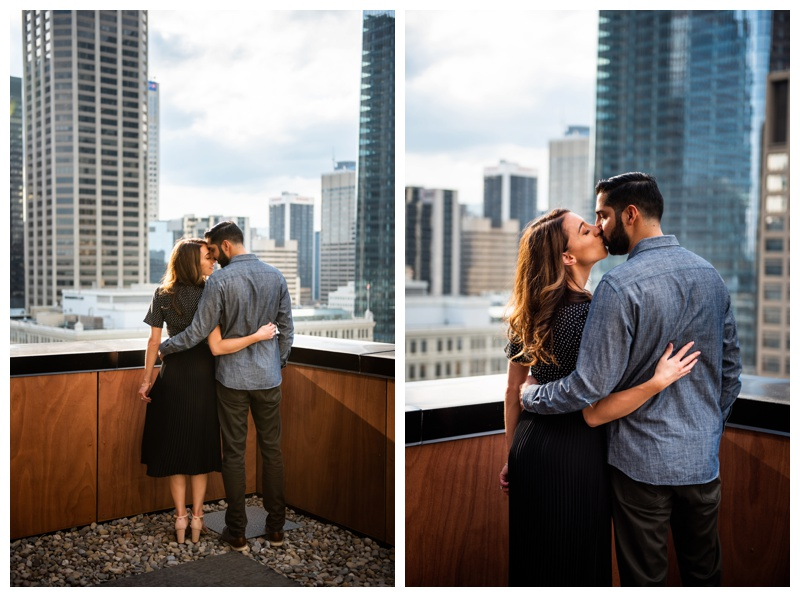 Calgary Le Germain Hotel Roof Top Engagement Sesison