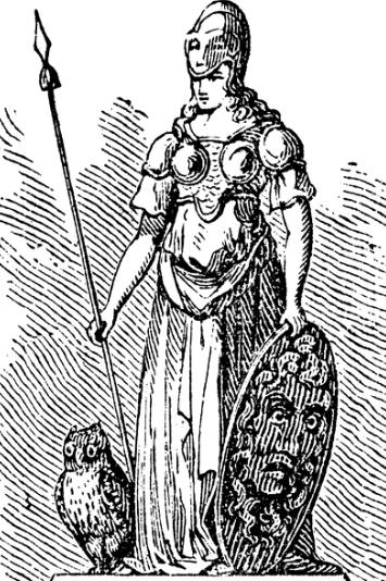 Atenea, diosa de la sabiduría. Lechuza.