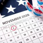 November 2020 presidential election date on calendar concept