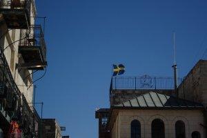 Sverige finns även i Jerusalem, strax innanför jaffa gate