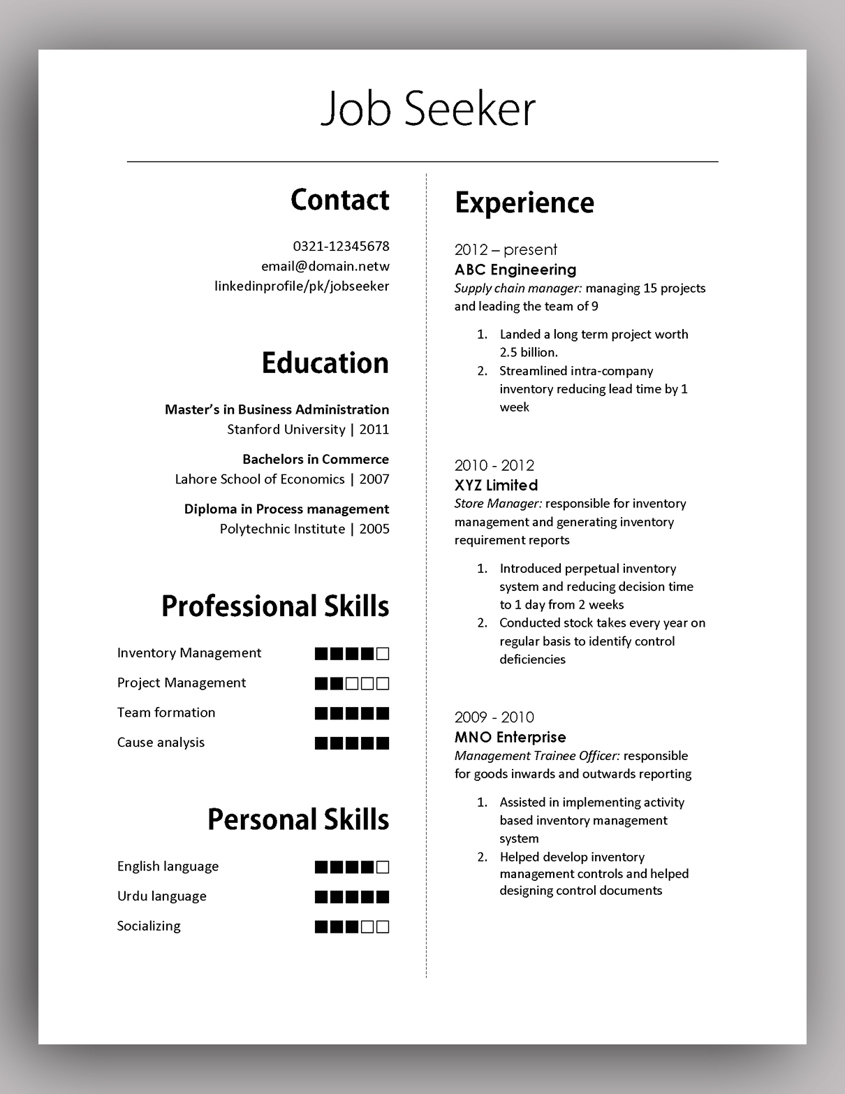 Free and premium plans sales crm software. Simple Yet Elegant Cv Template To Get The Job Done Free Download Pakaccountants Com