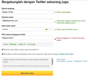 verifikasi pendaftaran akun twitter