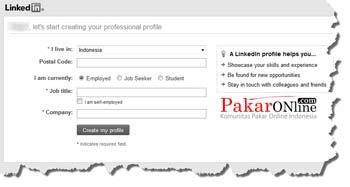 Mengisi profil dasar di Linkedin