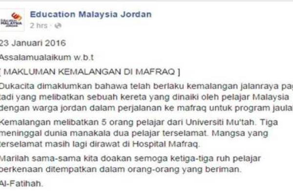 pelajar-wanita-malaysia-maut-nahas-jordan