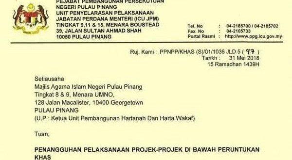 Pembinaan masjid di Pulau Pinang di sekat selepas kemenang Pakatan Harapan