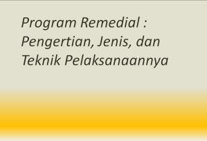 Program Remedial : Pengertian, Jenis, dan Teknik Pelaksanaannya