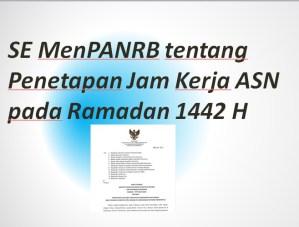 SE MenPANRB tentang Penetapan Jam Kerja ASN pada Ramadan 1442 H