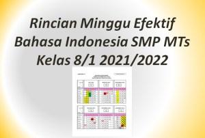 Rincian Minggu Efektif Bahasa Indonesia SMP MTs Kelas 8/1 2021/2022