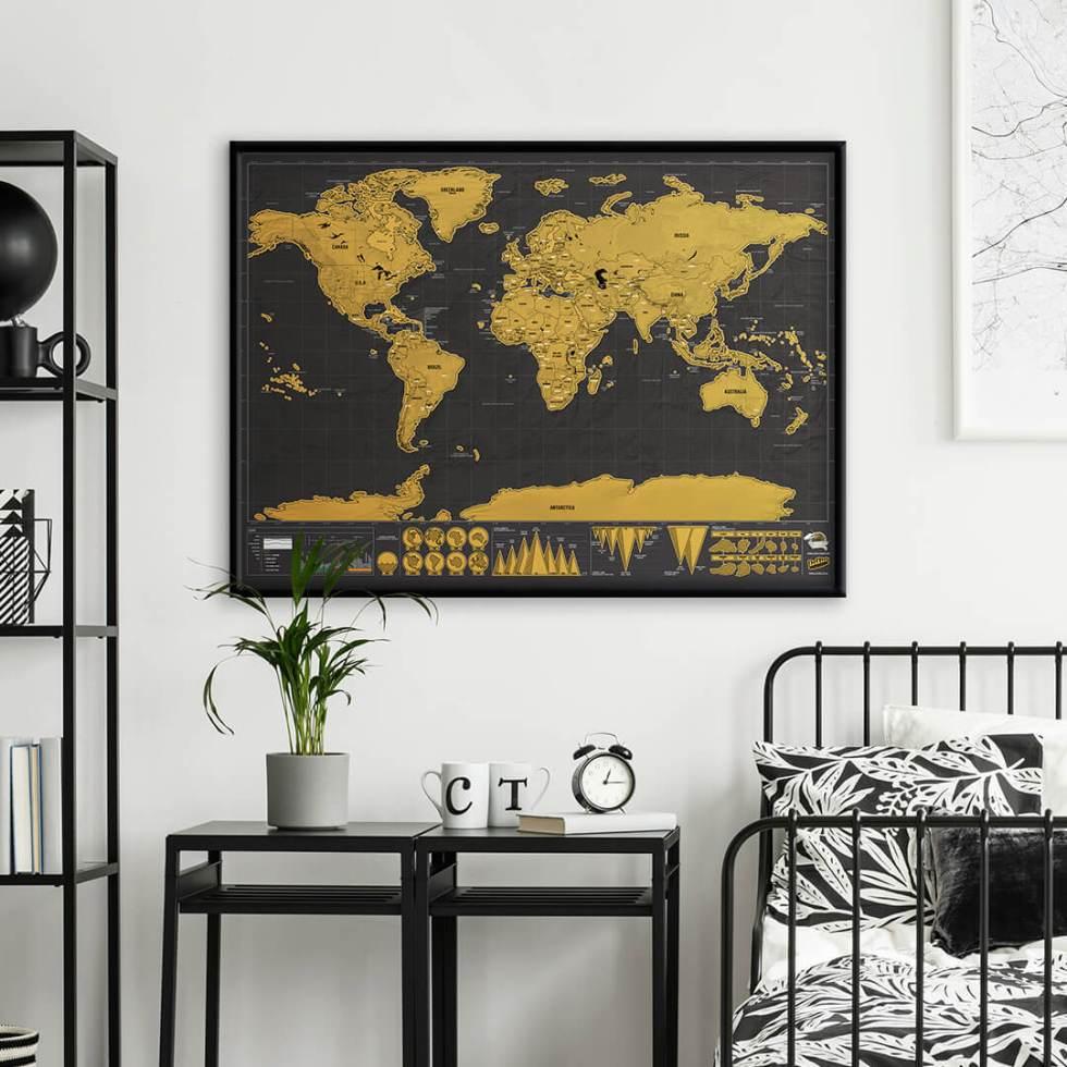 Skrapkarta världen original deluxe Scratch map original deluxe häng upp på väggen