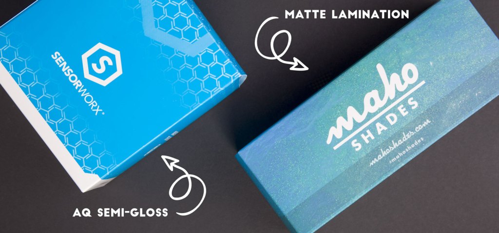 AQ semi-gloss and matte lamination on two custom boxes.