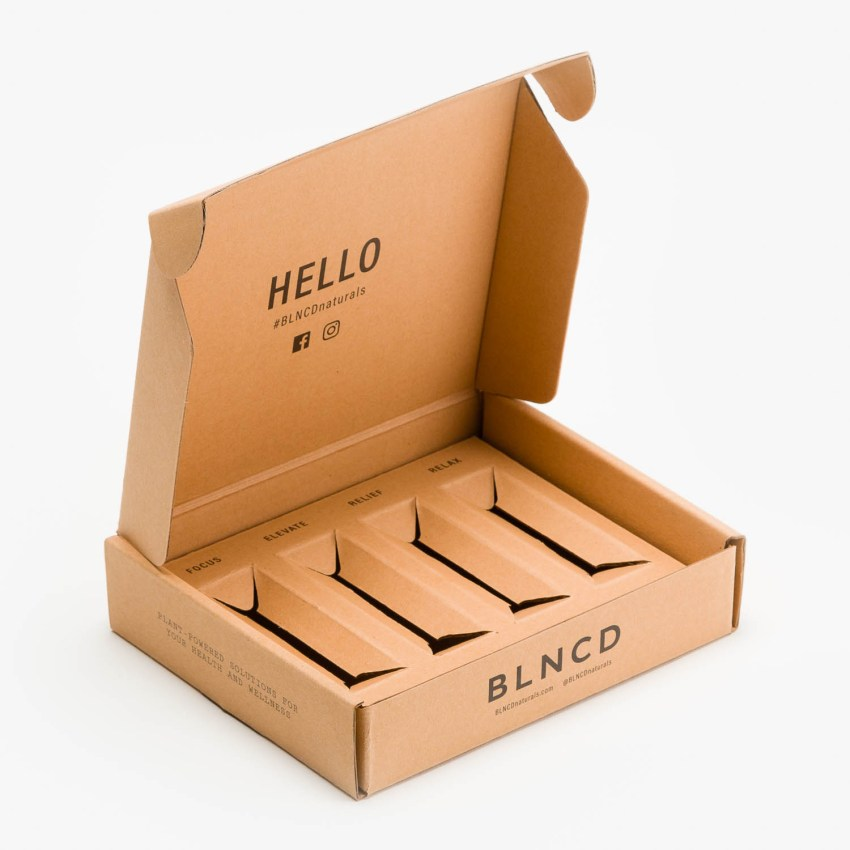 Custom cardboard packaging that follows minimalist design.