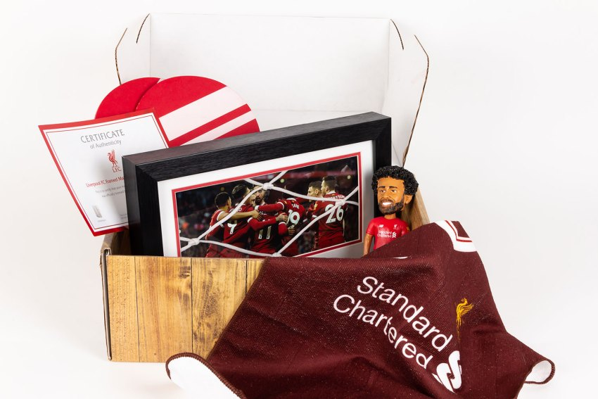 A head-on view of the unboxed Anfield custom subscription box.