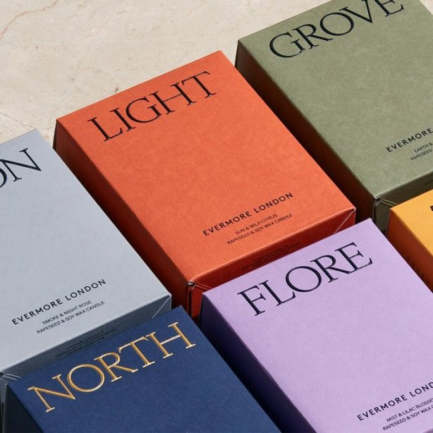 colored custom paperboard boxes with a serif typeface