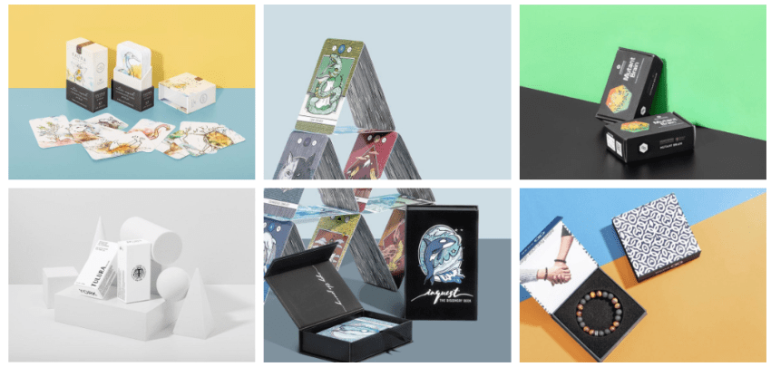 A collage of custom packaging designs by PakFactory. Custom boxes for necklaces, cosmetics, and game cards can be seen.