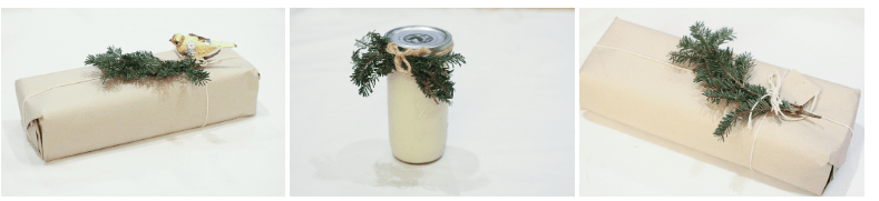 Gift wrap decoration using broken spruce tree branches. Great for customizing your eco-friendly holiday packaging.